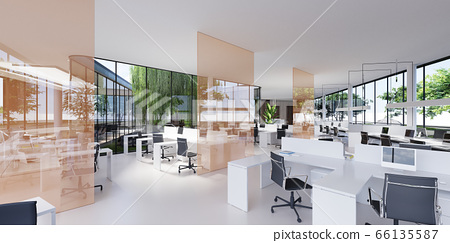 Spacious light and lighted office with work desks 66135587