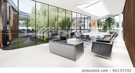 Meeting room with a large white table and black 66135592