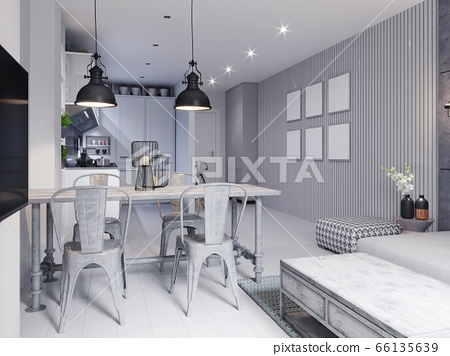 White scandinavian dining room with metal loft 66135639