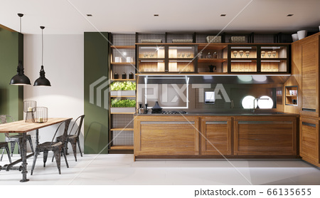 Hipster style kitchen with green walls and light 66135655