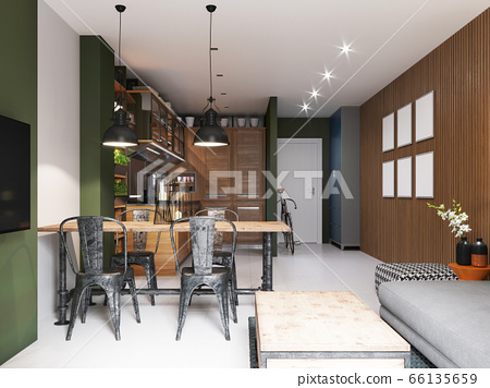 Kitchen with a dining room in a modern hipster 66135659