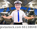 Funny cheerful pilot with glasses, background of 66138648