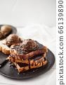 Chocolate ice cream on toast. 66139890