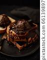 Chocolate ice cream on toast. 66139897