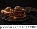 Chocolate ice cream on toast. 66139900