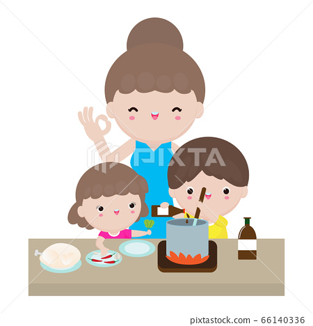 Mother and daughter and son preparing healthy food at home together, mom and children cooking in kitchen, happy Family lifestyle concept Characters cartoon isolated on white background 66140336