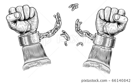 Hands Breaking Chain Shackle Handcuffs 66140842