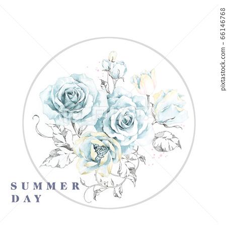 色彩豐富的花卉素材組合和設計元素 66146768