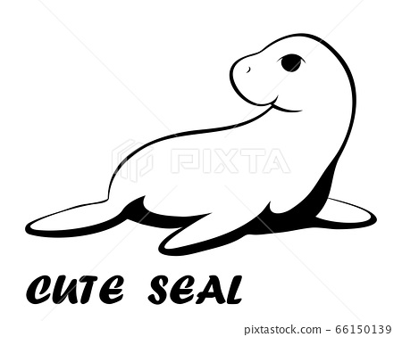Black line vector illustration cartoon on a white background of a cute seal. 66150139