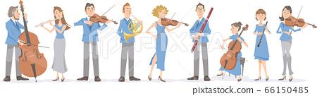 音樂家演奏樂器。古典音樂家的形象。 66150485