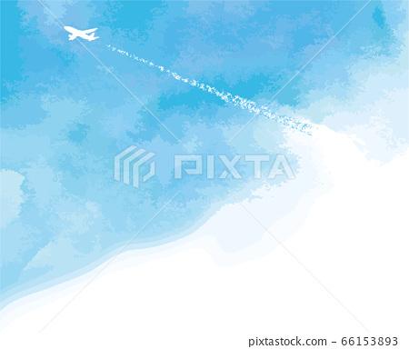 푸른 하늘과 비행기 구름과 점보 기계의 수채화 풍 벡터 일러스트 66153893