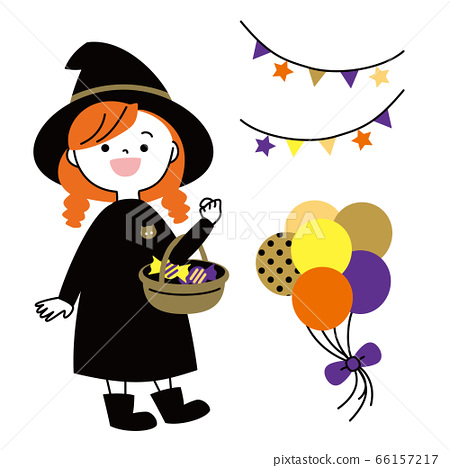 與一個女孩裝扮成女巫的萬聖節派對插圖 66157217