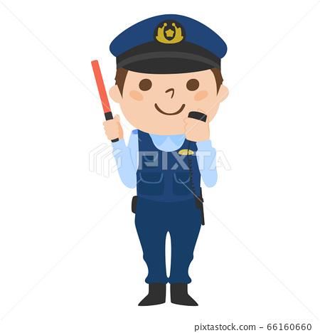 拿著收音機和一根紅色導桿的一位男性警察的例證。 66160660