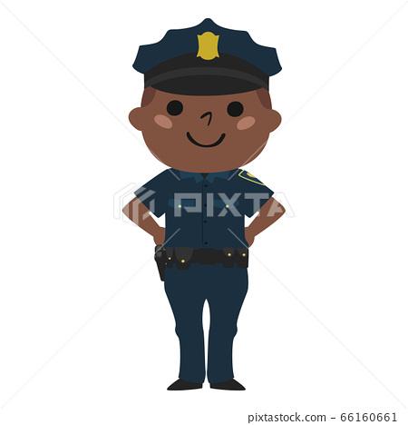 一位微笑的男性警察的例證。. 66160661