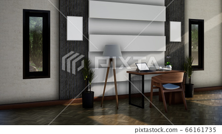modern interior working room with chair and table, 3d rendering 66161735
