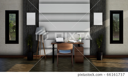 modern interior working room with chair and table, 3d rendering background 66161737
