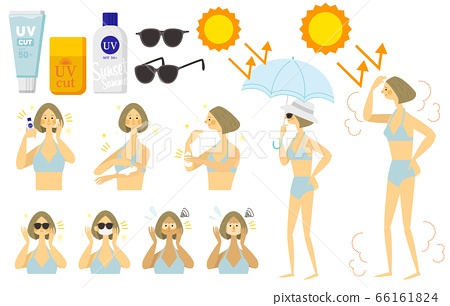 一個女人在泳裝要防止曬傷的插圖 66161824