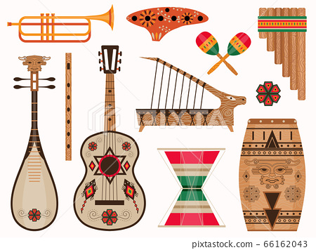 Aztec and Mexican Ethnic Musical Instruments Set 66162043