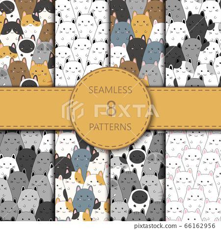 Seamless pattern with cute kitten family cartoon, vector illustration 66162956