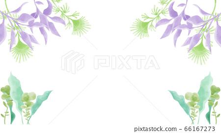 Watercolor hand drawn background illustration of aquatic plants 66167273