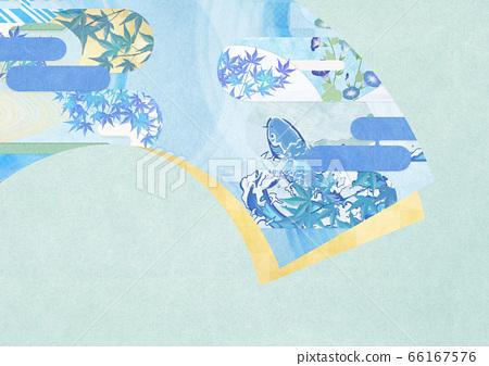日式背景素材-夏季圖像-酷日式圖案-風扇 66167576