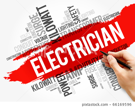 Electrician word cloud collage, concept background 66169596