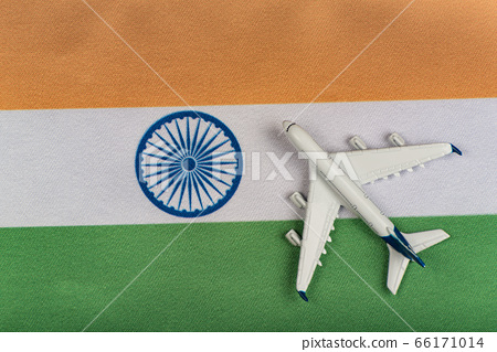 Flag of India and airplane. Resumption of flights 66171014