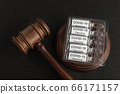 Judge gavel and ampoules with letters covid19. 66171157