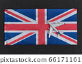 Flag of United Kingdom and toy airplane. Air 66171161