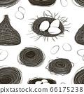 Nest set and hatching chicken pattern. 66175238