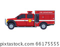Red Fire Engine, Emergency Service Rescue Vehicle Flat Style Vector Illustration on White Background 66175555