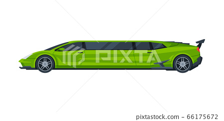 Green Modern Limousine Car, Elegant Premium Luxurious Limo Vehicle, Side View Flat Vector Illustration 66175672