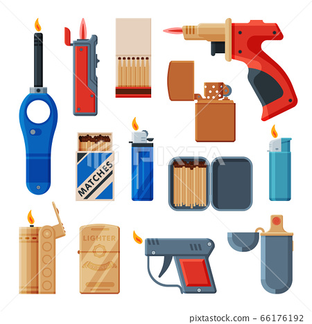 Collection of Cigarette and Stove Kitchen Lighters, Matchboxes with Matches, Flammable Smoking Equipment Vector Illustration 66176192
