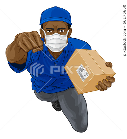 Delivery Superhero Courier Delivering Package Box 66176660