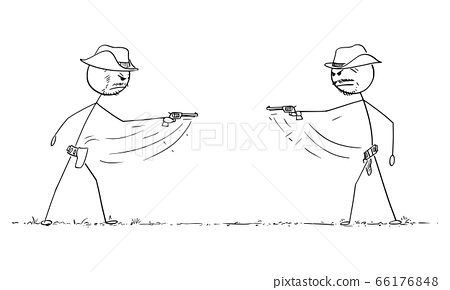 Vector Cartoon Illustration of Two Cowboys Dueling With Revolvers on Wild West. Gunfight or Business Competition Concept. 66176848