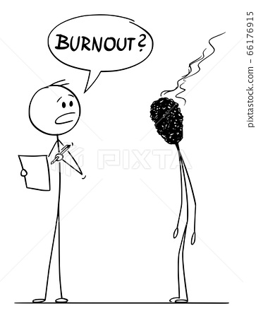 Vector Cartoon Illustration of Burnout Stressed or Tired Man or Businessman Talking in Work with His Boss. 66176915