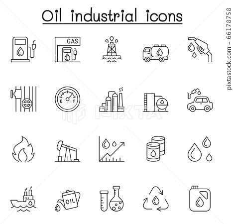 Oil industrial icons set in thin line style 66178758
