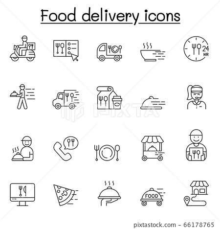 Food delivery icons set in thin line style 66178765