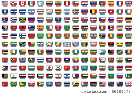 World Flags Icons with a national code 66183372