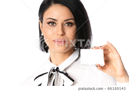 Business Woman holding copy space card or empty white blank sign or gift card, isolated 66189143