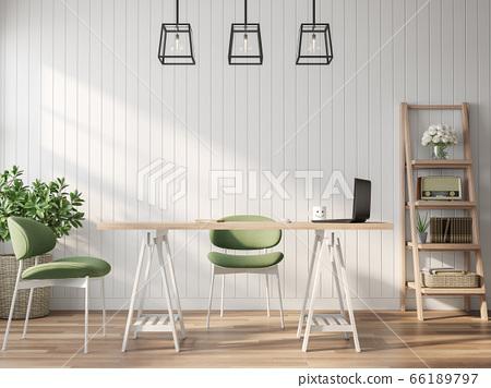 Vintage style working room 3d render 66189797