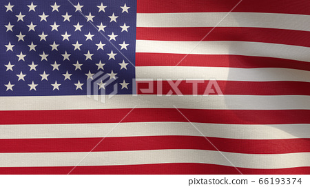 3D Rendering - Close Up flag of United States. Realistic waving fabric America national flag. 66193374