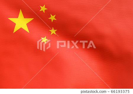 3D Rendering - Close Up flag of China. Realistic waving fabric China flag. 66193375