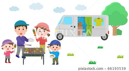 一家人在營地燒烤期間住在一輛車的插圖 66193539