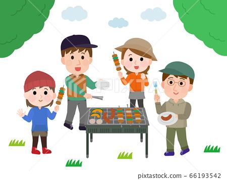 男性和女性組樹插圖到燒烤 66193542