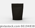 The black food and snack pouch bag packaging mock-up design front view on studio stage 66194838