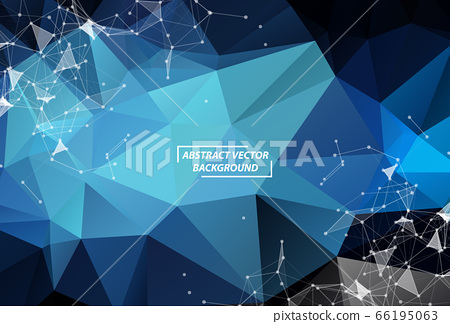 Abstract Dark Blue Polygonal Space Background with 66195063