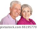 Happy senior couple isolated on white background 66195770