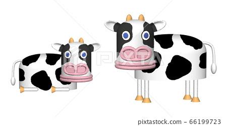 돼지 얼굴의 소 캐릭터 일러스트 66199723