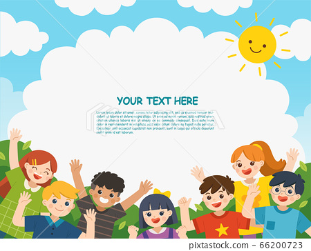 Happy children having fun together in nature. Template for advertising brochure. 66200723